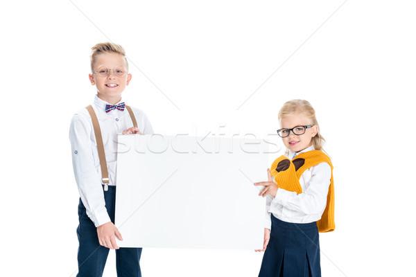 kids holding blank banner Stock photo © LightFieldStudios