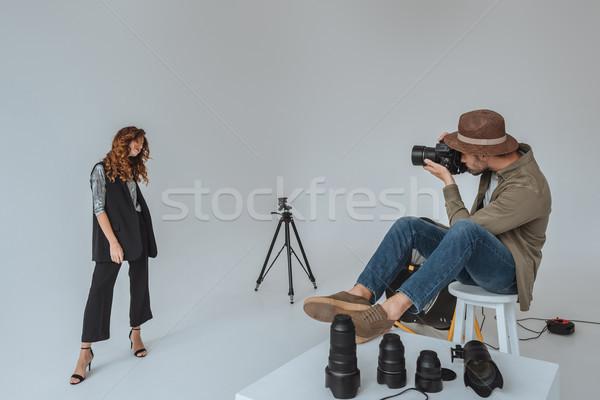photographer and model in photo studio Stock photo © LightFieldStudios