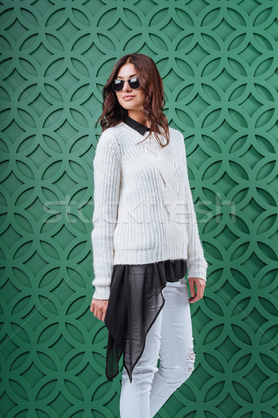 Woman in autumn outfit and sunglasses Stock photo © LightFieldStudios