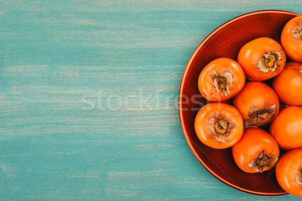 Haut vue rouge plaque turquoise table Photo stock © LightFieldStudios