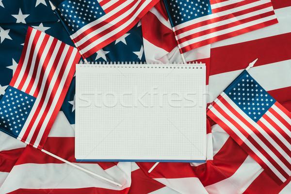 üst görmek amerikan bayraklar defter gün Stok fotoğraf © LightFieldStudios