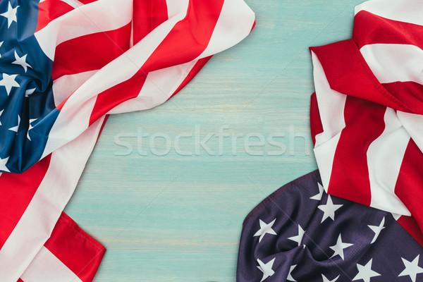 üst görmek katlanmış amerikan bayraklar mavi Stok fotoğraf © LightFieldStudios