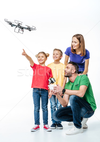 Kids using flying hexacopter drone Stock photo © LightFieldStudios