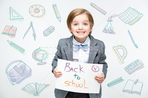 Boldog iskolás fiú kész iskola oktatás földgömb Stock fotó © LightFieldStudios