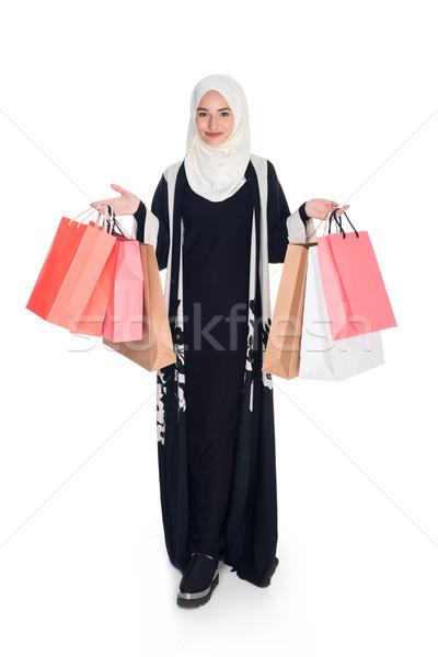 Femme heureux musulmans isolé blanche Photo stock © LightFieldStudios