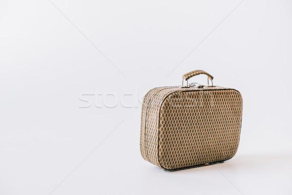 Vintage skóry walizkę widoku odizolowany Zdjęcia stock © LightFieldStudios