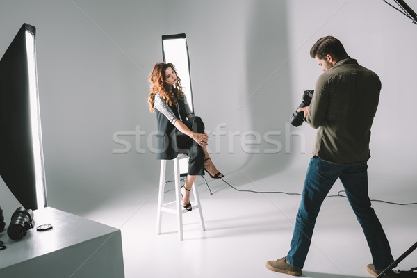 photographer and beautiful model  Stock photo © LightFieldStudios