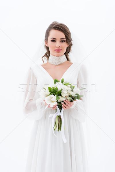 Anziehend Braut traditionellen Kleid Schleier halten Stock foto © LightFieldStudios