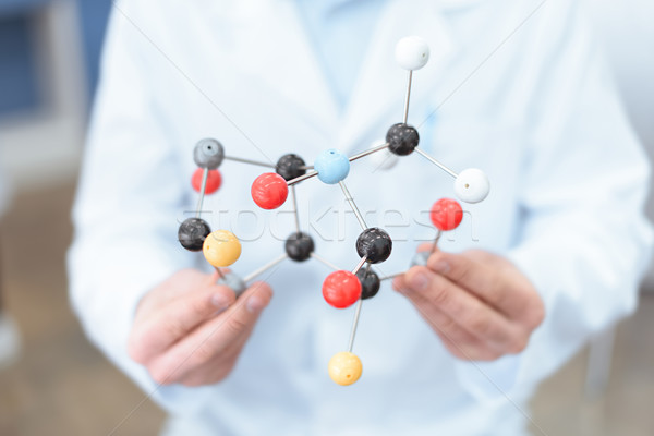 Close-up partial view of scientist in white coat holding molecular model Stock photo © LightFieldStudios