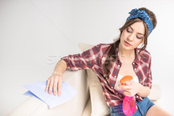 Stockfoto: Vrouw · schoonmaken · sofa · jonge · vrouw · spray