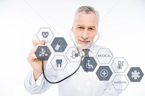 врач стетоскоп медицинская помощь иконки дизайна технологий Сток-фото © LightFieldStudios