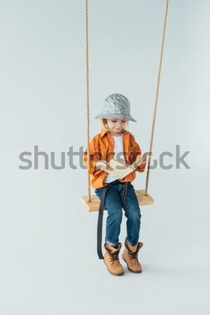 Kid очки портфель Cute девочку Сток-фото © LightFieldStudios