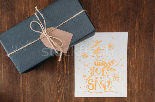 gift box and christmas card Stock photo © LightFieldStudios