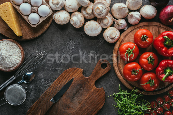 Top мнение различный растительное Ингредиенты пиццы Сток-фото © LightFieldStudios
