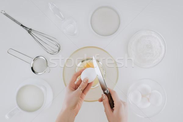 ショット 人 卵 ナイフ 料理 ストックフォト © LightFieldStudios