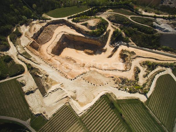 Aerial view of sand quarry with fields around, Germany Stock photo © LightFieldStudios