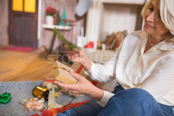 Woman wrapping christmas present Stock photo © LightFieldStudios
