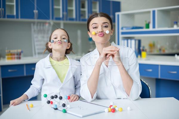 笑顔の女性 教師 少女 学生 科学者 ストックフォト © LightFieldStudios