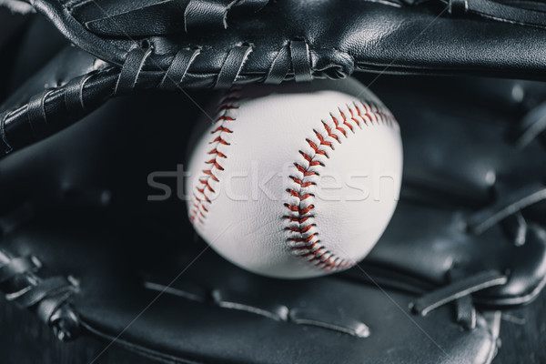 Close-up view of leather baseball glove and white ball  Stock photo © LightFieldStudios