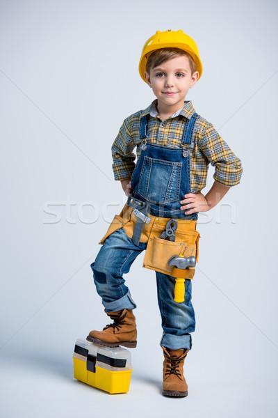 Wenig Junge Tool Gürtel cute gelb Stock foto © LightFieldStudios