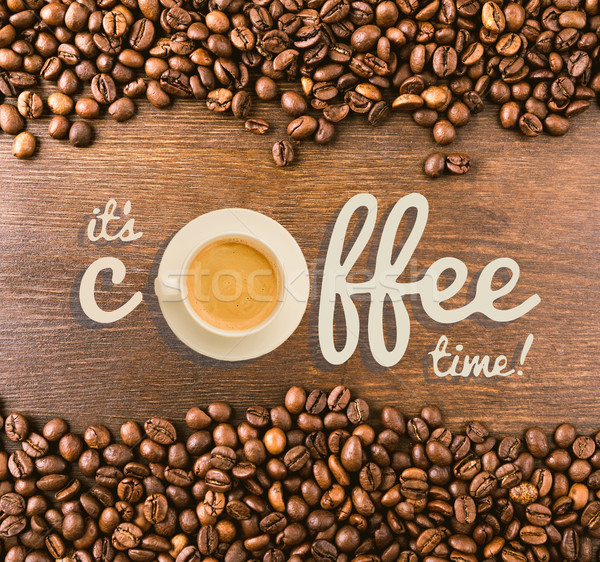 Opschrift koffie tijd beker vers hot Stockfoto © LightFieldStudios