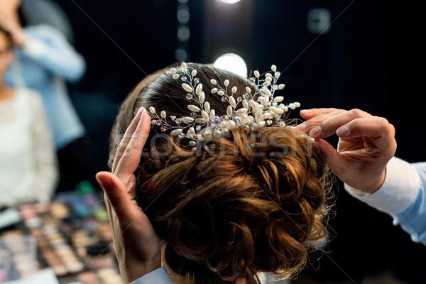 ヘアスタイル 表示 美しい 手 女性 ストックフォト © LightFieldStudios