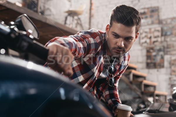 man with classic motorbike Stock photo © LightFieldStudios