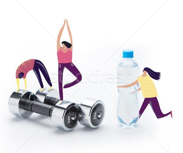 people doing sport exercises on dumbbells Stock photo © LightFieldStudios