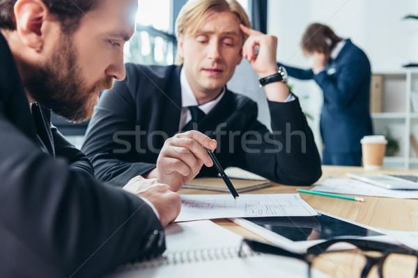 Stock fotó: üzletemberek · dolgozik · iroda · közelkép · kilátás · kettő