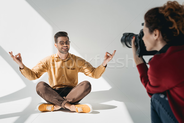 model in lotus position Stock photo © LightFieldStudios