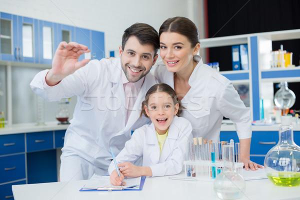 Portre gülen bilim adamları çalışma mikroskop slayt Stok fotoğraf © LightFieldStudios