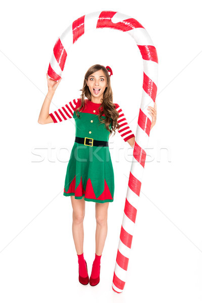 Vrouw decoratief christmas lolly grimas elf Stockfoto © LightFieldStudios
