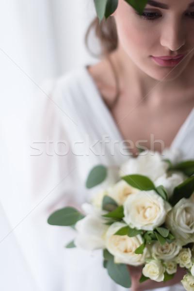 選択フォーカス 小さな エレガントな 花嫁 結婚式のブーケ 女性 ストックフォト © LightFieldStudios