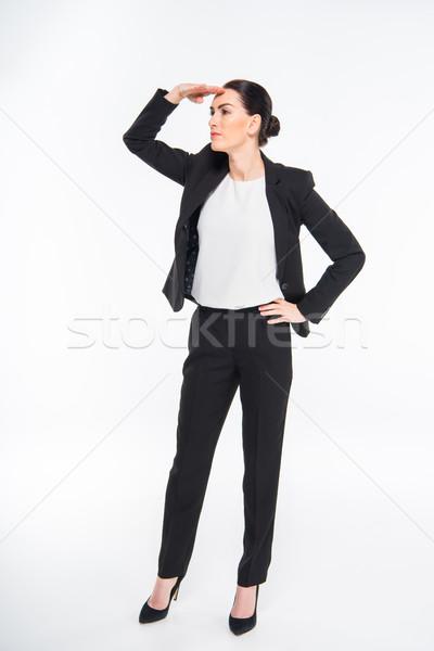 Zakenvrouw hand voorhoofd aantrekkelijk witte Stockfoto © LightFieldStudios
