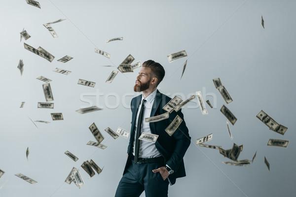 Portré elegáns üzletember zuhan dollár bankjegyek Stock fotó © LightFieldStudios
