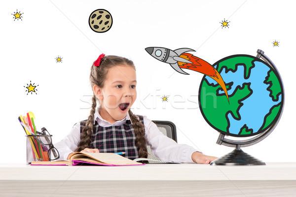 Stock fotó: Iskolás · lány · álmodik · űr · utazó · izgatott · ül