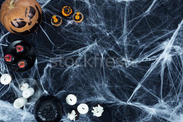 Halloween decoraties spinneweb top Stockfoto © LightFieldStudios