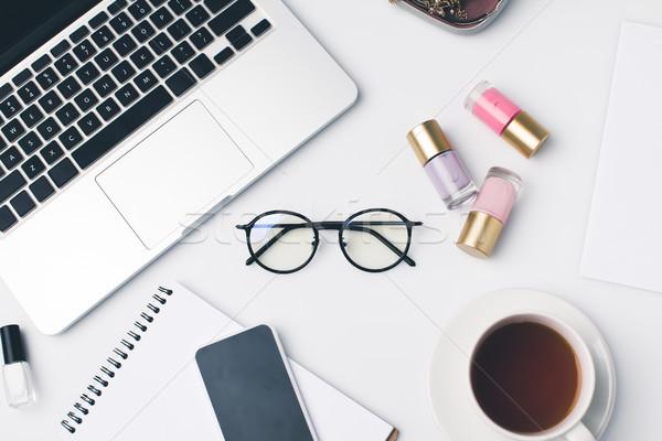 modern girly workplace with laptop Stock photo © LightFieldStudios
