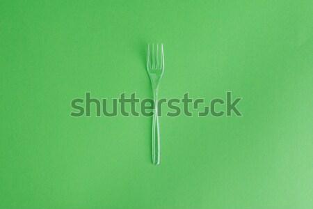 Top мнение прозрачный пластиковых вилка изолированный Сток-фото © LightFieldStudios