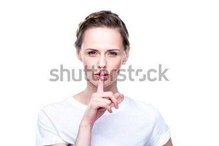 Vrouw stilte symbool portret aantrekkelijke vrouw witte Stockfoto © LightFieldStudios