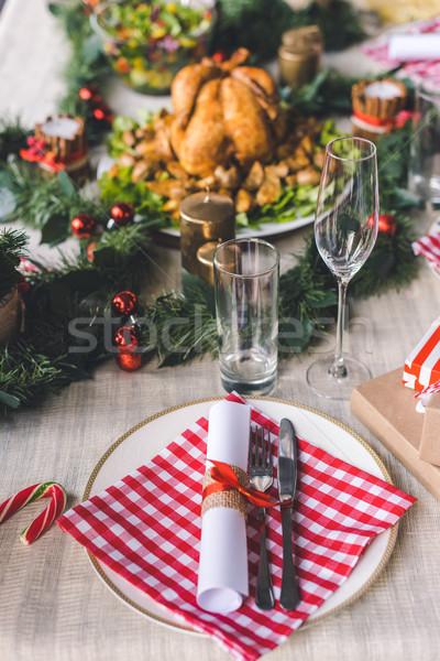 christmas table setting Stock photo © LightFieldStudios