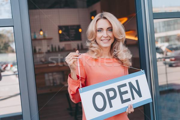 Kaffeehaus Eigentümer Zeichen öffnen anziehend Stock foto © LightFieldStudios
