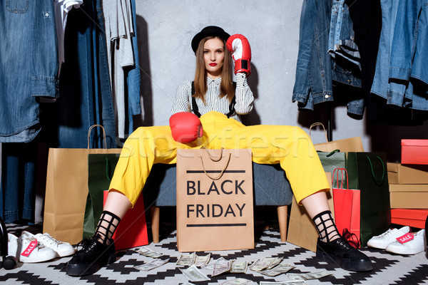 Menina luvas de boxe black friday beautiful girl roupa Foto stock © LightFieldStudios