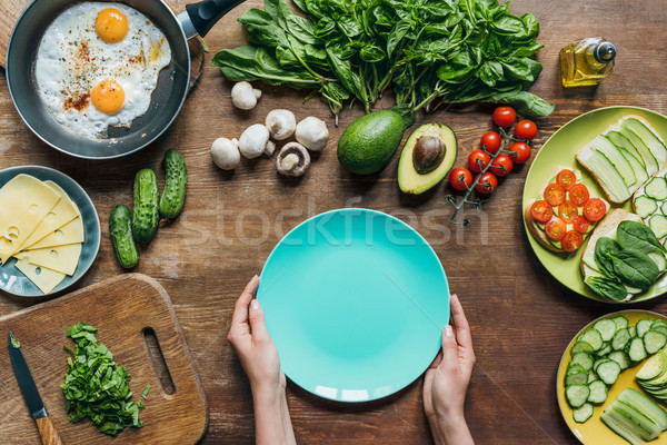 empty plate and ingredients for breakfast Stock photo © LightFieldStudios