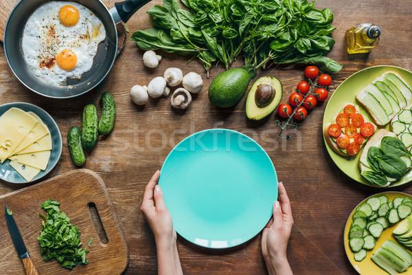 üres tányér hozzávalók reggeli felső kilátás Stock fotó © LightFieldStudios