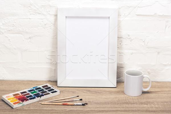 空っぽ フォトフレーム 表 表示 コーヒーカップ ストックフォト © LightFieldStudios