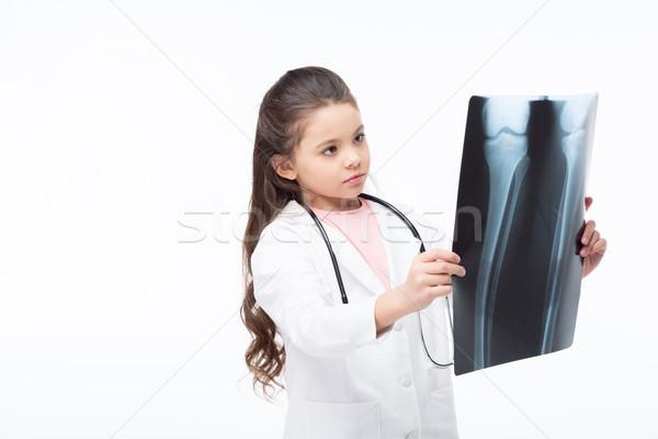 Mädchen Arzt Kostüm cute kleines Mädchen Stethoskop Stock foto © LightFieldStudios