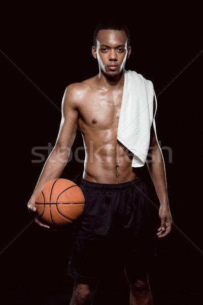 Stwarzające piłka ręcznik czarny Zdjęcia stock © LightFieldStudios