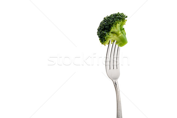 fresh broccoli on fork isolated on white. healthy lifestyle concept Stock photo © LightFieldStudios