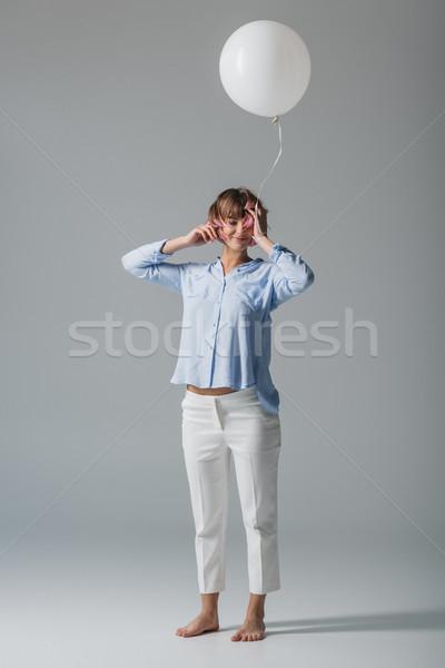 happy girl with balloon Stock photo © LightFieldStudios